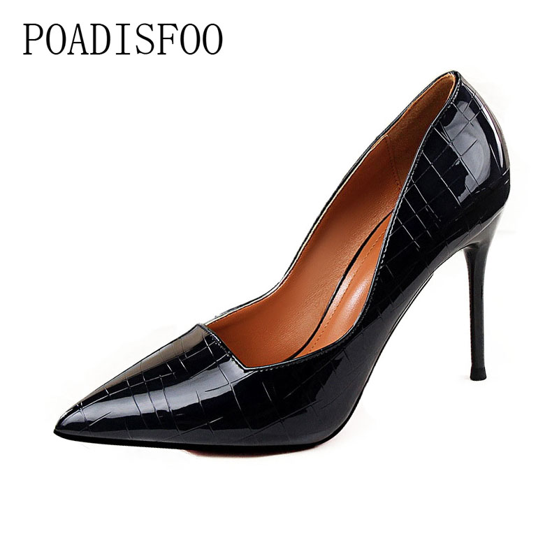 High Heel Shallow Mouth Pointed Metal Stone Pattern Retro Fine With Sexy Slim Nightclub Shoes .PSDS-1570-1 14cm sexy fine with nightclub shiny diamond high heels spring and autumn shallow mouth princess wedding shoes