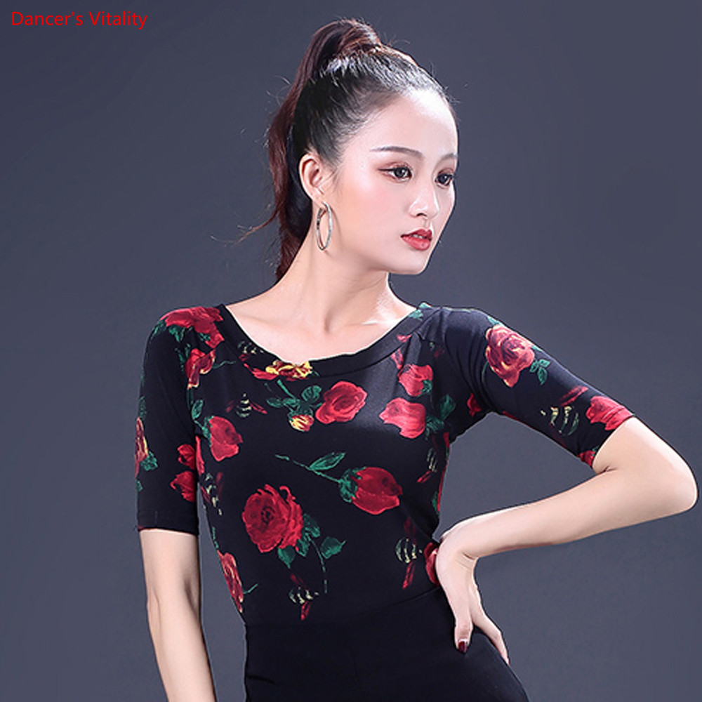 Image 3 - Fashion Print Latin Dance Tops New Adult Female Half Sleeved Practice Clothes Women Ballroom Dance Stage Performance CostumesLatin   -