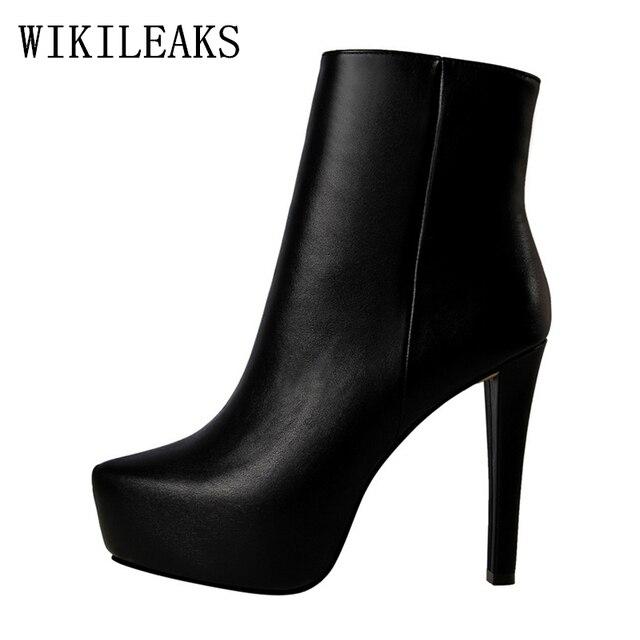 9365fe9cbbd Botines de cuero de Moto para mujer botas sexy botas de tacón alto botas de  plataforma