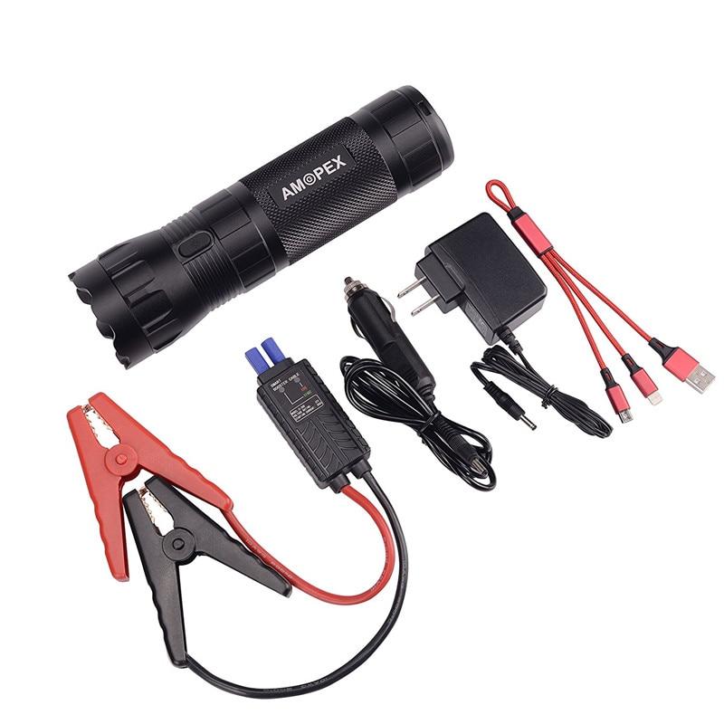 HCOOL Portable Jump Starter 12000 mAh 400A Démarreur Voiture De Saut Pic Tactique lampe de Poche Power Bank Batterie Marteau de Sécurité Essentiel