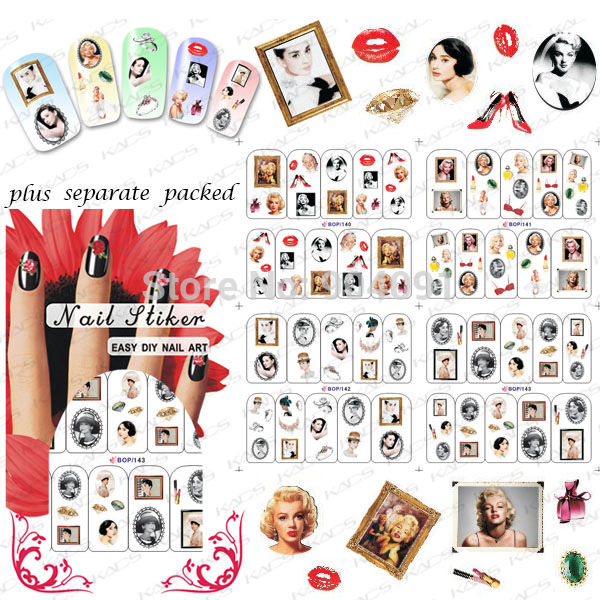 BeautyNailArt   50Sheet/lot  Hepburn & Marilyn Monroe Water decals Nail Art Stickers for Nail Accessories nail tool