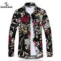 SHANBAO Flores de Los Hombres de Más Tamaño 5XL 6XL 7XL trajes de Negocios y ocio Camisa de La Impresión 2017 de Primavera/Otoño de Moda Camisa de Manga Larga