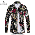 SHANBAO Men's Floral Shirt Plus Size 5XL 6XL 7XL Business & Leisure Print Shirt 2017 Spring / Autumn Fashion Long Sleeve Shirt