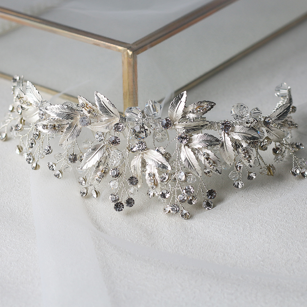 Image 5 - ASNORA Bridal Headbands with Combs Wedding Hair Accessories Headdress for Brides Metal Leaf with Crystals Beads Women Hair Bands-in Hair Jewelry from Jewelry & Accessories