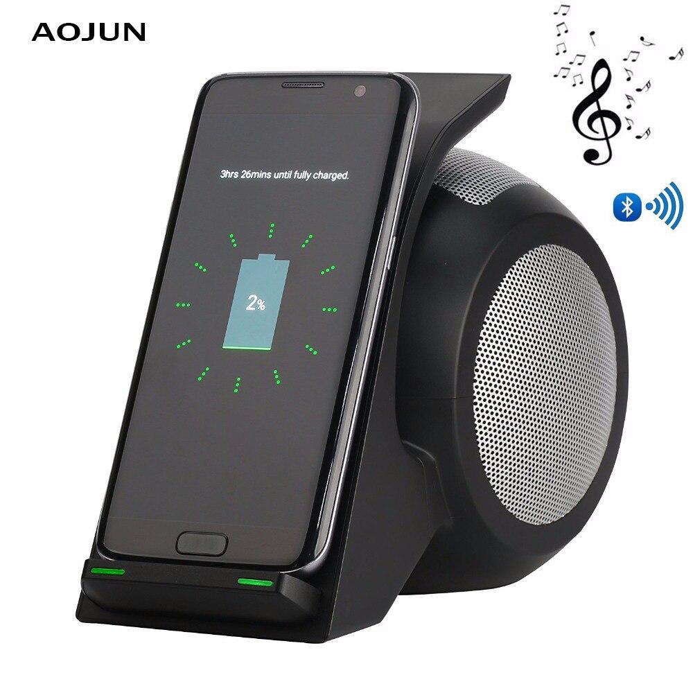 Bluetooth Haut-Parleur Qi Sans Fil Chargeur Pour iPhone XS XR XS Max Rapide Sans Fil De Charge Pour Samsung Galaxy Note 9 8 s9 S9 Plus