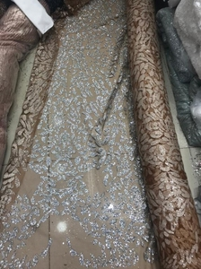 Image 5 - Nigerian French Fabric High Quality JIANXI.C 52205 Best Selling African Lace Fabric Glued glitter sequins Tulle Lace Fabric