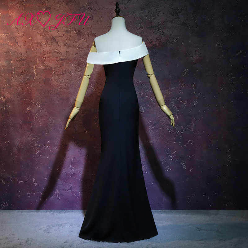 AXJFU принцесса бело-Черное вечернее платье сексуальный вырез «сердечко» Турция винтажное вечернее платье роскошный черный Труба вечернее платье