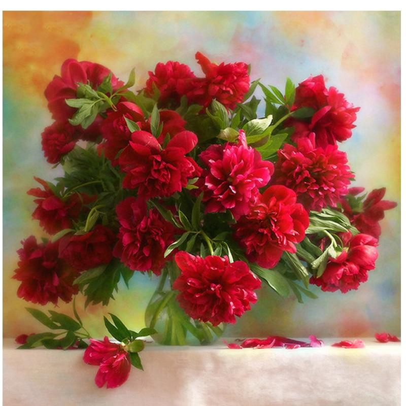 Diamond cross stitch d embroidery red flower vase