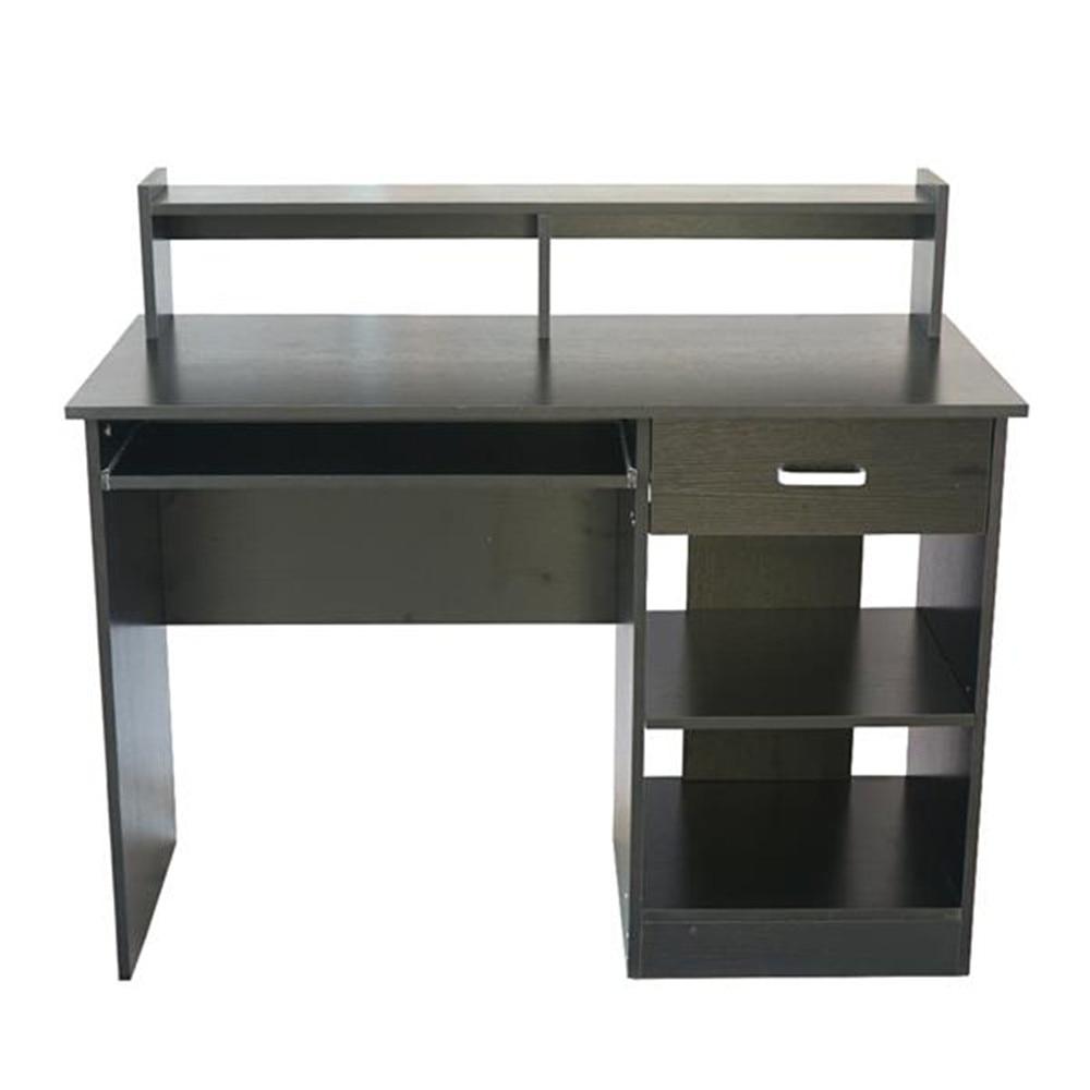 Style général moderne E1 15MM aggloméré ordinateur bureau noir ordinateur bureau avec tiroir et étagère pour bureau d'étude
