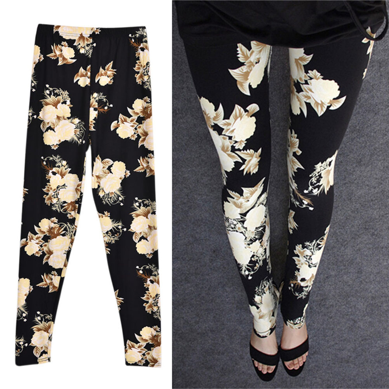 Fashion Sexy Women Lady Multiple colors styles trousers in stock Slim Cotton Pants New Rose Flower Printed Leggings
