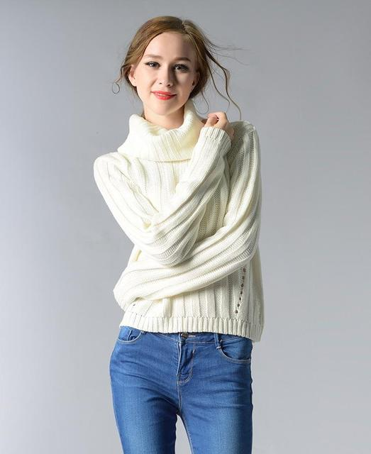 Fashion Womens Solid Sweater High Quality Female Round Neck Pullover Turtleneck Sweater Winter Autumn Womens Coats