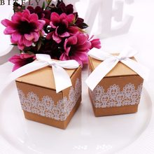 50Pcs/lot Sweet Lovely Candy Box Rustic White Lace Kraft Favor Romantic Vintage Gift Boxes With Ribbons Wedding Party Decoration(China)