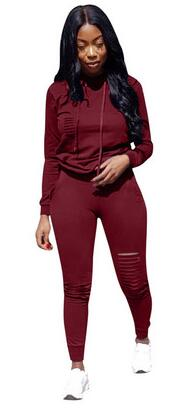 Autumn Two Piece Set Tracksuit Women 2019 Long Sleeve Sweatshirt Hoodies + Ripped Pants Solid Plus Size Outfit Sweat Suit DC226