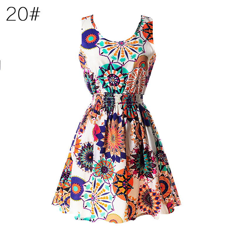 2017 Summer Sexy Women Tank Chiffon Beach Party Dress Sleeveless Slim Bodycon Sundress Floral Mini Dresses