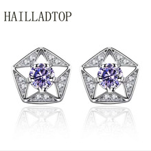 Stud Earring With CZ Diamonds Five-pointed Star Pendant Retro Personality Hollow Pendant luxury Stud Earrings For Women Girl