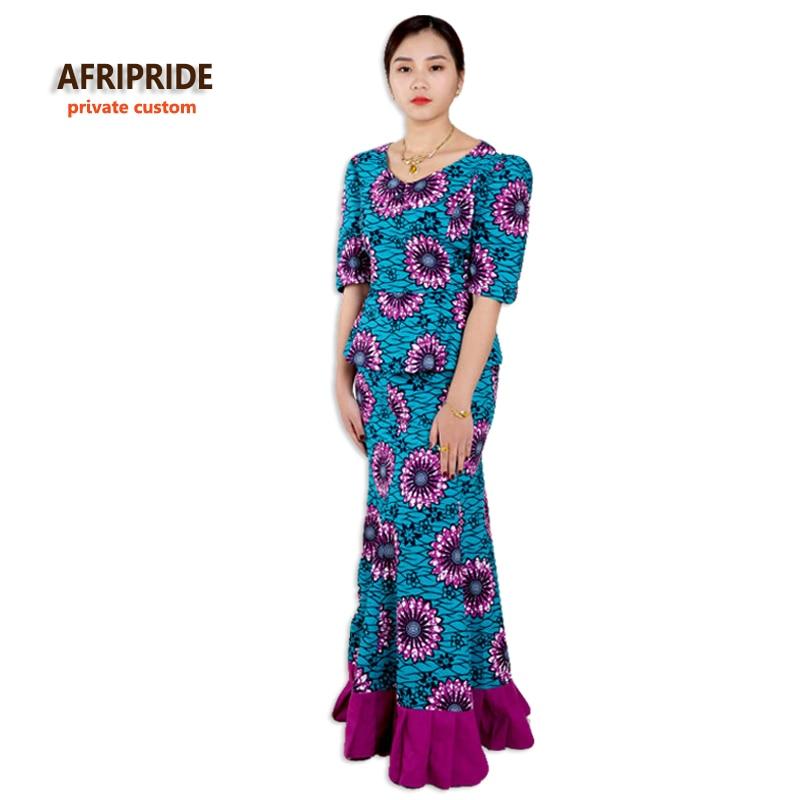 Vestidos de fiesta africanos, traje de dos piezas, falda para mujer, ropa femenina africana elegante, más tamaño, impresión de algodón, wax66605