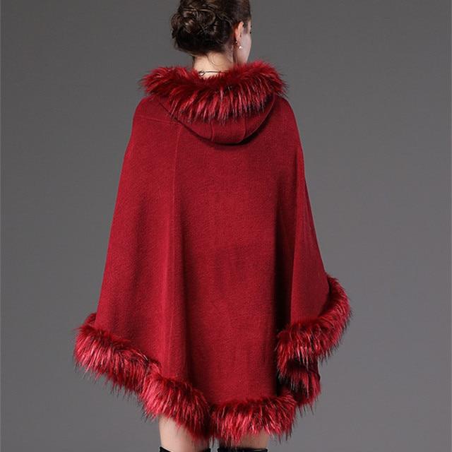 2018 Autumn Winter Women's knit Cape Shawl Coat Hooded Top Faux raccoon fur edge Cardigan Cloak Loose Female Sweaters OKXGNZ2057 8