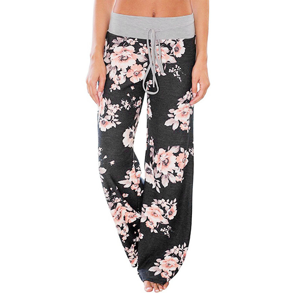 Sleeper#401 2019 FASHION Women Floral Prints Drawstring   Wide     Leg     Pants   Leggings loose soft daily wear charm hot Free Shipping