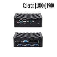 OEM ODM Fanless Mini Pc With Celeron J1800 J1900 1080P 4 Serial Port Dual Lan Support