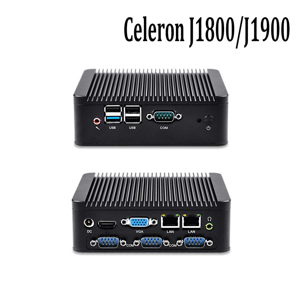 Oem/odm sin ventilador mini pc con procesador celeron j1800/j1900 1080 p 4 puert