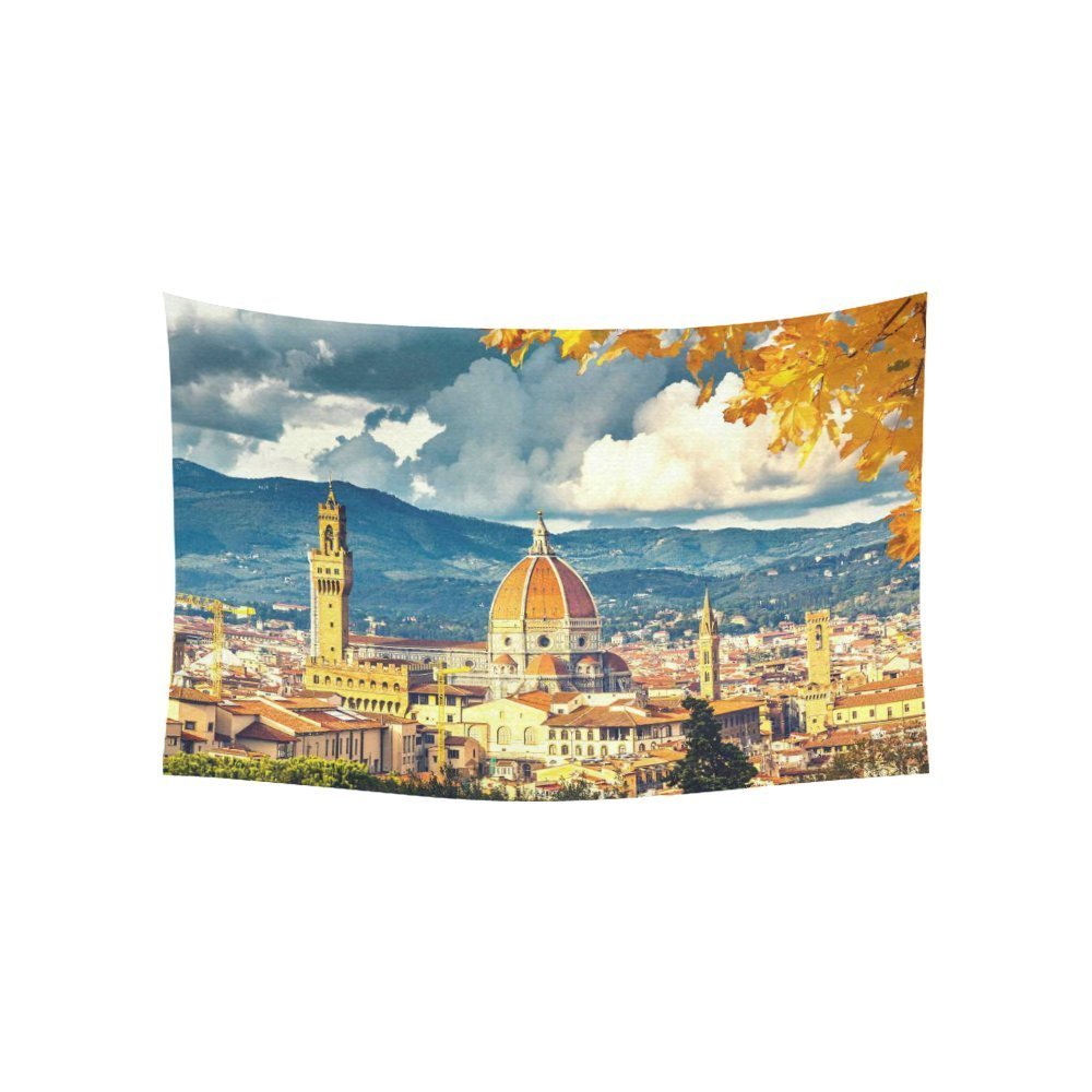 Cityscape Wall Art Home Decor, View on Florence and Duomo Cathedral, Italy Tapestry Wall Hanging Art Sets
