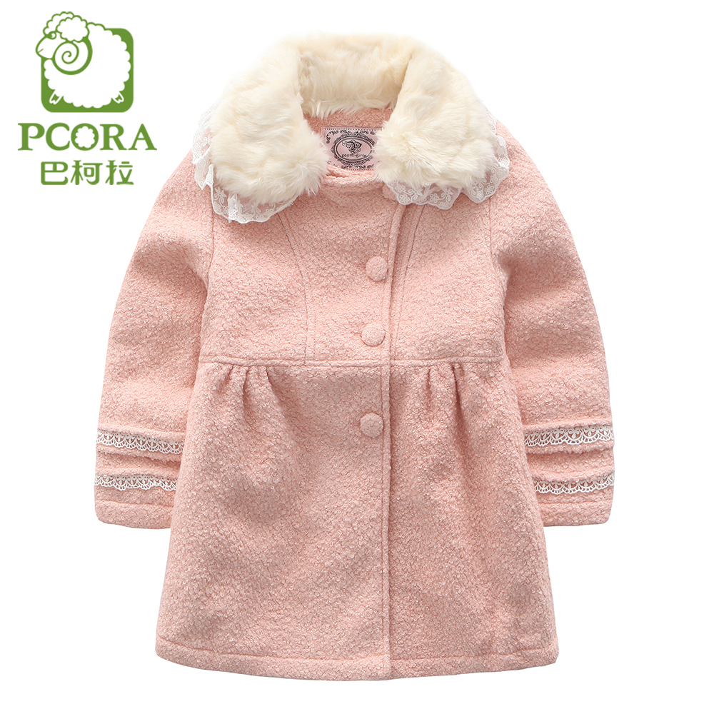4d7295ce70a9 PCORA Kids Girls Wool Coat Autumn Winter Outerwear Fur Collar ...