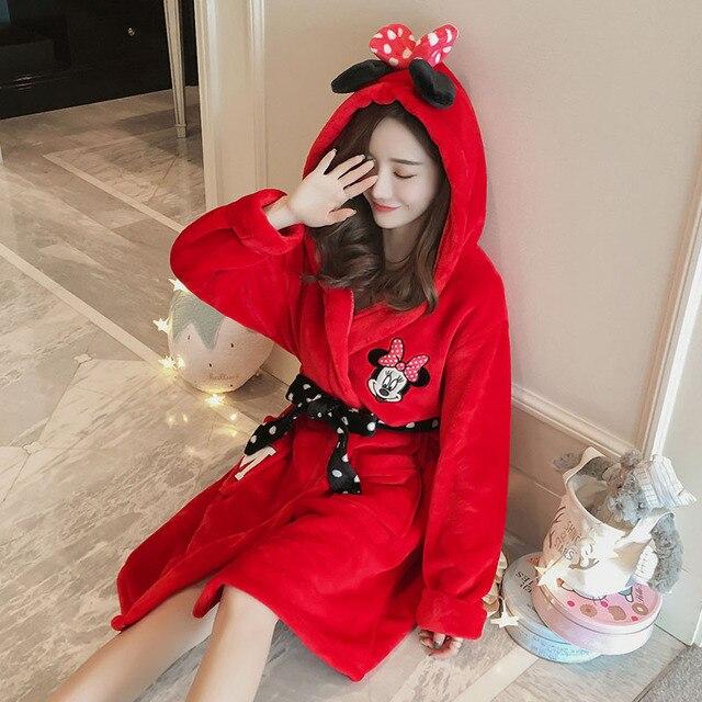 2018 Red Thick Cute Cartoon Robes Women Sexy Kgurumi Flannel Sleepwear  Winter Autumn Lady Warm Bathrobe 5732dc9ac