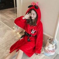 2018 Red Thick Cute Cartoon Robes Women Sexy Kgurumi Flannel Sleepwear Winter Autumn Lady Warm Bathrobe Nightgown Dressing Robes