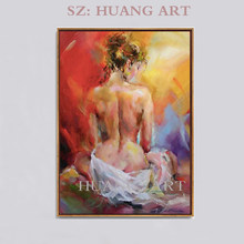 Hand-painted figure oil painting decorated with beautiful female characters, sexy female nude and hazy portrait(China)