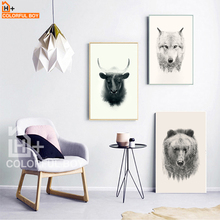 COLORFULBOY Nordic Realistic Animal Heads Canvas Painting For Living Room Large Wall Art Print Poster Canvas Pictures Home Decor