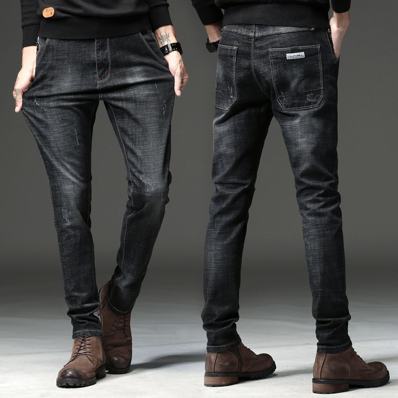 Autumn Men's   Jeans   Men's Slim and Small Feet Winter Style Thickening Winter   Jeans   Winter Pants Men's Wear hip hop