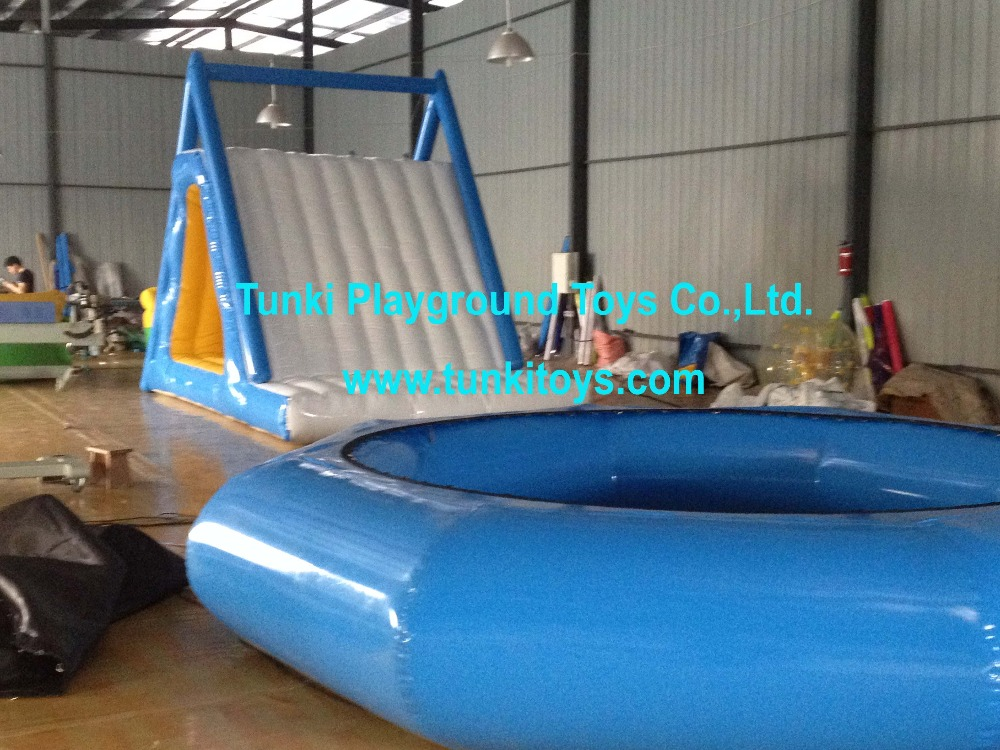 Residential inflatable water slide water park with inflatable swimming pool for hot summer