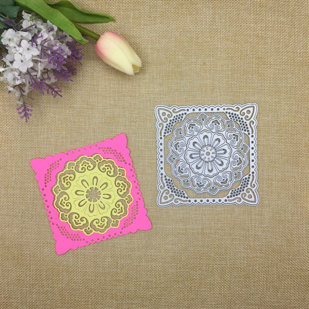 Julyarts Square Circle Flower New 2019 Metal Cutting Dies Frame For Scrapbooking Merry Christmas Card Troqueles Fustelle