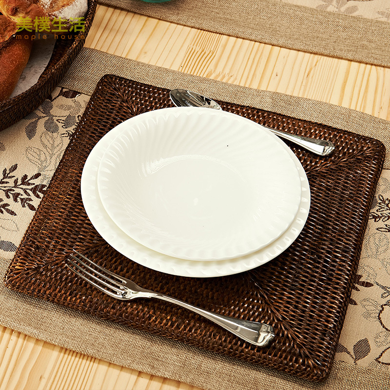 Us Park Living Square Woven Rattan Placemats Green Waterproof Insulation Mat Table Mats In Flatware Sets From Home Garden On Aliexpress