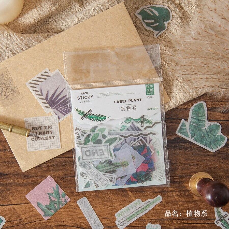 40pcs/pack Spring Plants Romantic Poem Diy Stickers Decorative Scrapbooking Diary Album Stick Label Decor Stationery