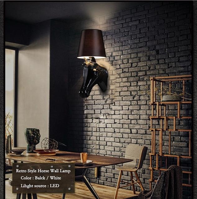 US $68.99 25% OFF|Dhl freies verschiffen Moderne Nordic Stil  Weiß/Schwarz/Silber/Gold Pferd Kopf Wandleuchten Licht Wohnzimmer  Wandleuchte Leuchten in ...