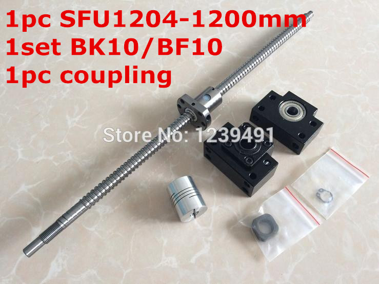 ball screw set 1204- 1200mm ballscrew with end machined +ball nut + BK/BF10 end support + coupler for cnc parts bk17 fixed end ballscrew support slide linear ball screw