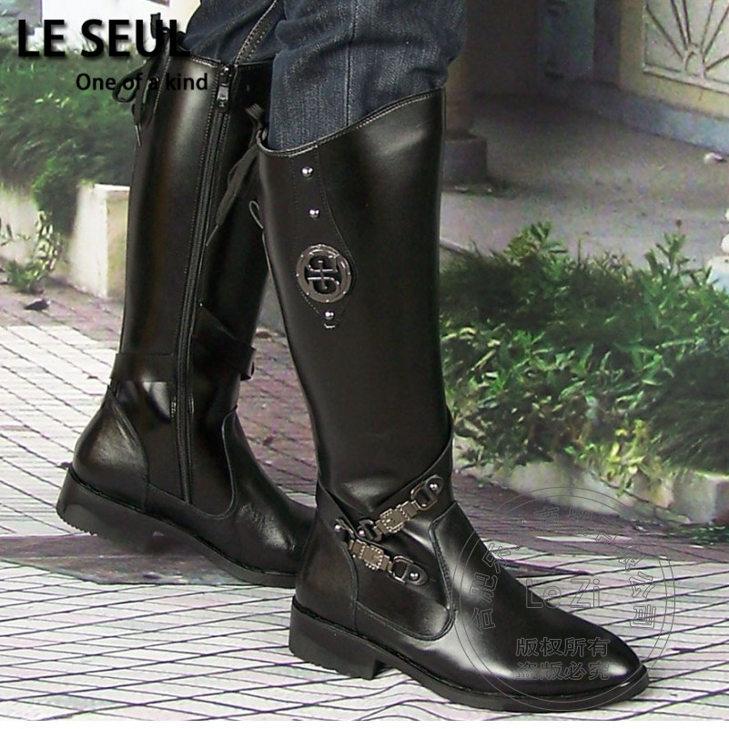 wear funky real leather metal decoration warm anti slip