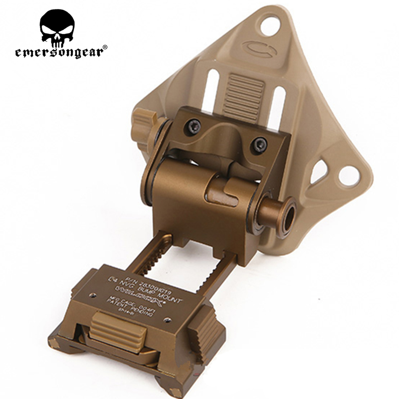 Emersongear Helmet NVG Mount with Shroud L4G19 Goggles Scope Night Vision Tactical Military Airsoft Pouches militech coyote brown cb color aluminum shroud marsoc warcom night vision 3 holes goggle mount base nvg ops core skeleton shroud