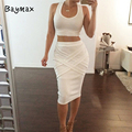 Two Piece Cotton Dress Summer Style Sleeveless Bandage Bodycon Sexy Party Dresses Vestidos de fiesta Maxi Summer Dress 2016