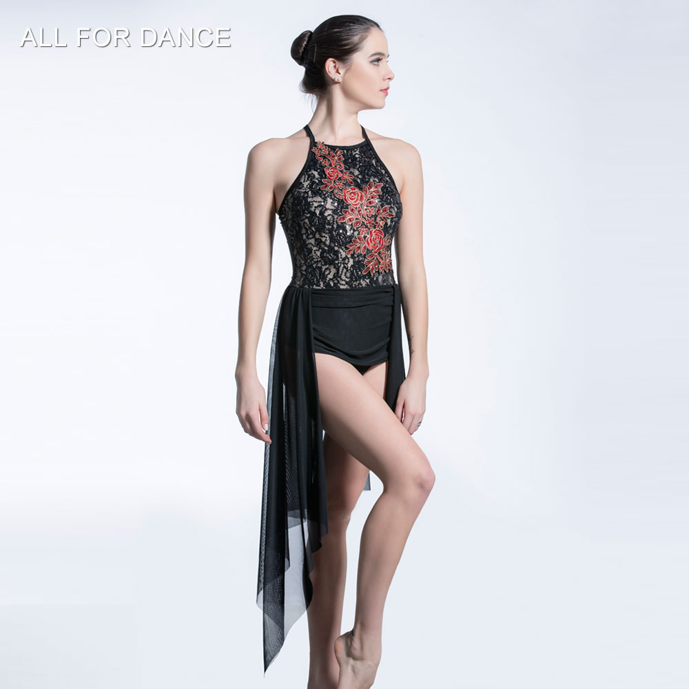 Black Sequin Lace Bodice with mesh skirt ballet dress Girl & Women stage performance ballet costumes lyrical & contemporay dress image