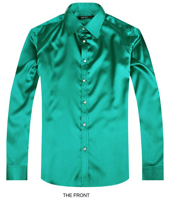 2017 color Green Luxury groom shirt male long sleeve wedding shirt men's party Artificial silk dress shirt M-3XL 21 colors FZS25
