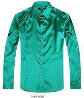 2017 Color Green Luxury Groom Shirt Male Long Sleeve Wedding Shirt Men S Party Artificial Silk