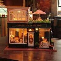 Модель Строительные наборы деревянный большой кукольный домик ручной работы Diy сборка куклы Париж кофе и торт магазин с английскими инстру