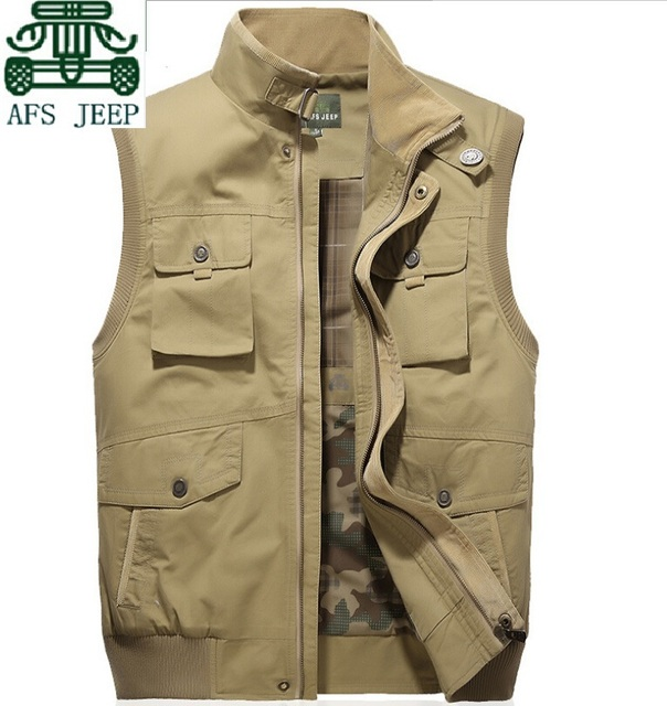 AFS JEEP Men's Pockets Summer brand 100% Cotton Cargo Vest,Good Quality Real Men's Brand Motorcycle Sleeveless Jacket EUR Size