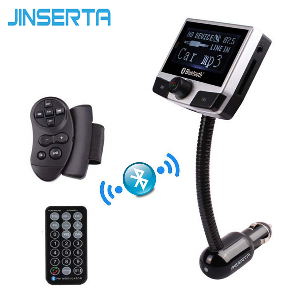 JINSERTA Bluetooth Car Kit AUX Audio MP3 Player FM Transmitter USB SD Slot Handsfree LCD Display Caller ID Steering Wheel Remote