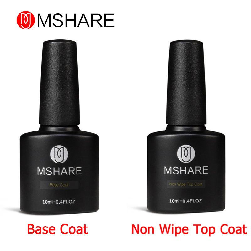 MSHARE 10ML 2pcs Tiada Lap Pembersihan Lapisan + Base Coat Gel Nail Polish Long Lasting Gel Varnish UV LED Nail Gel Lacquer
