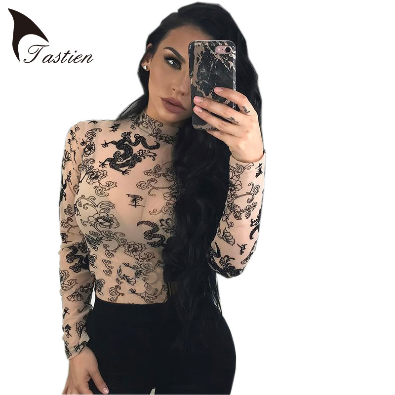 TASTIEN Women Sexy Perspective Mesh Dragon Print T Shirt Long Sleeve Turtleneck Slim Skin Color Top Female Club Fit Pullover