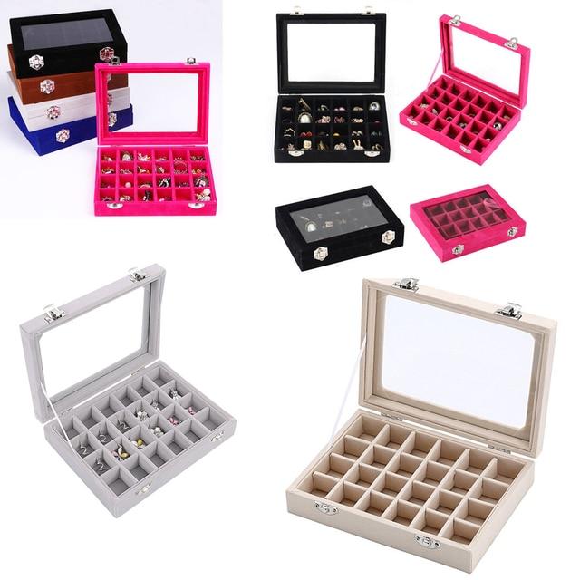 03ab05538 Multi Colors Choose 24 Grid Velvet Glass Jewelry Ring Display Organiser Box  Tray Holder Earrings Storage Case