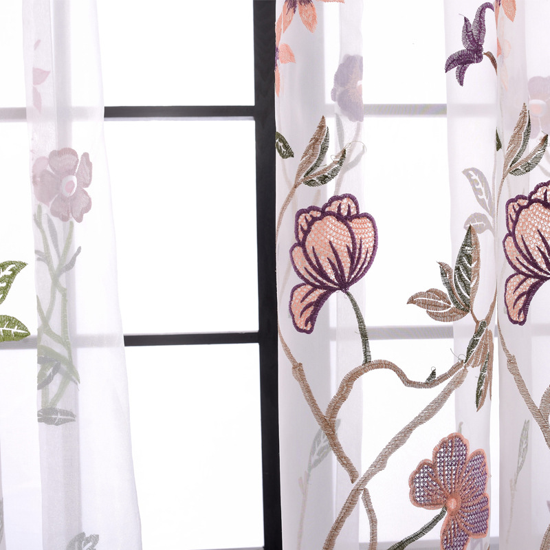 Curtains for Living Dining Room Bedroom Cotton Embroidery Curtain Fabric Living Room Bedroom Study Curtain in Curtains from Home Garden